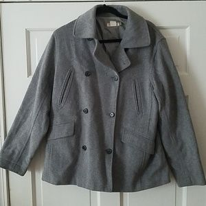 J Crew gray wool blend button peacoat TALL size M